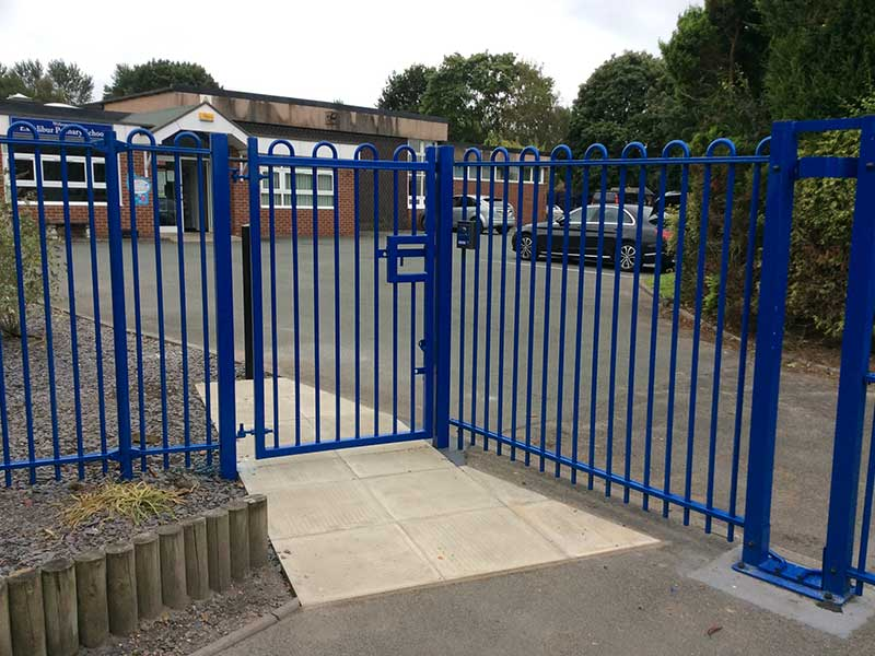 Bow Top Fencing with Pedestrian Gate