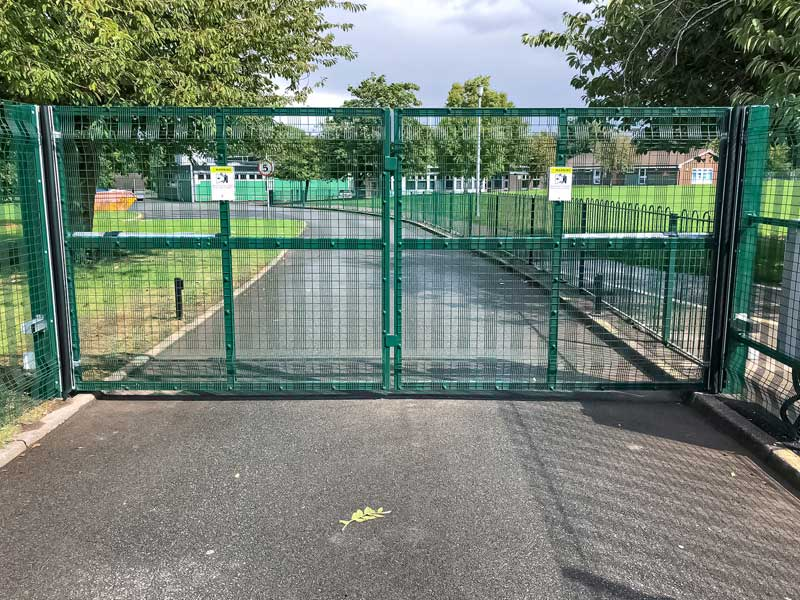 Green Mesh Swing Gates School