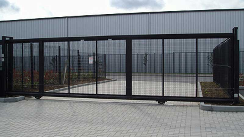 Tracked Sliding Gate with Mesh Infill