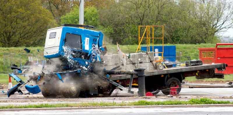 PAS 68 Road Blocker Crash Testing
