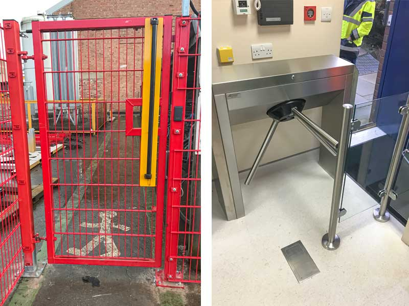 pedestrian gates red mesh and indoor turnstile